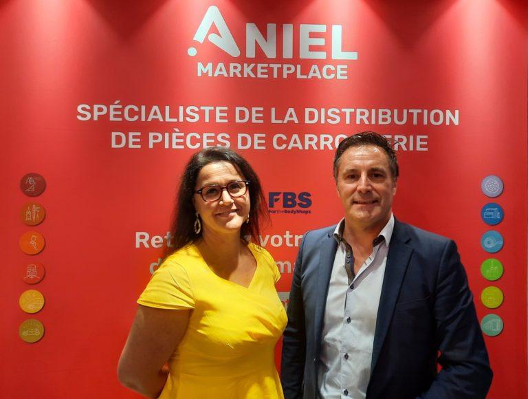 Nelly Perez, directrice réseau d'A+Glass, et Stéphane Colet, directeur commercial France d'Aniel Marketplace.
